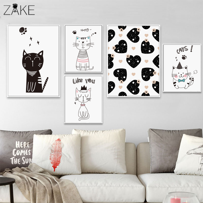 Baby Cat Nursery Wall Art Canvas Poster Print Pink Cartoon Minimalist Painting Decorative Picture Nordic Kids Bedroom Decoration in Painting Calligraphy from Home Garden