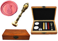 Vintage Pineapple Custom Luxury Wax Seal Sealing Stamp Brass Peacock Metal Handle Sticks Melting Spoon Wood