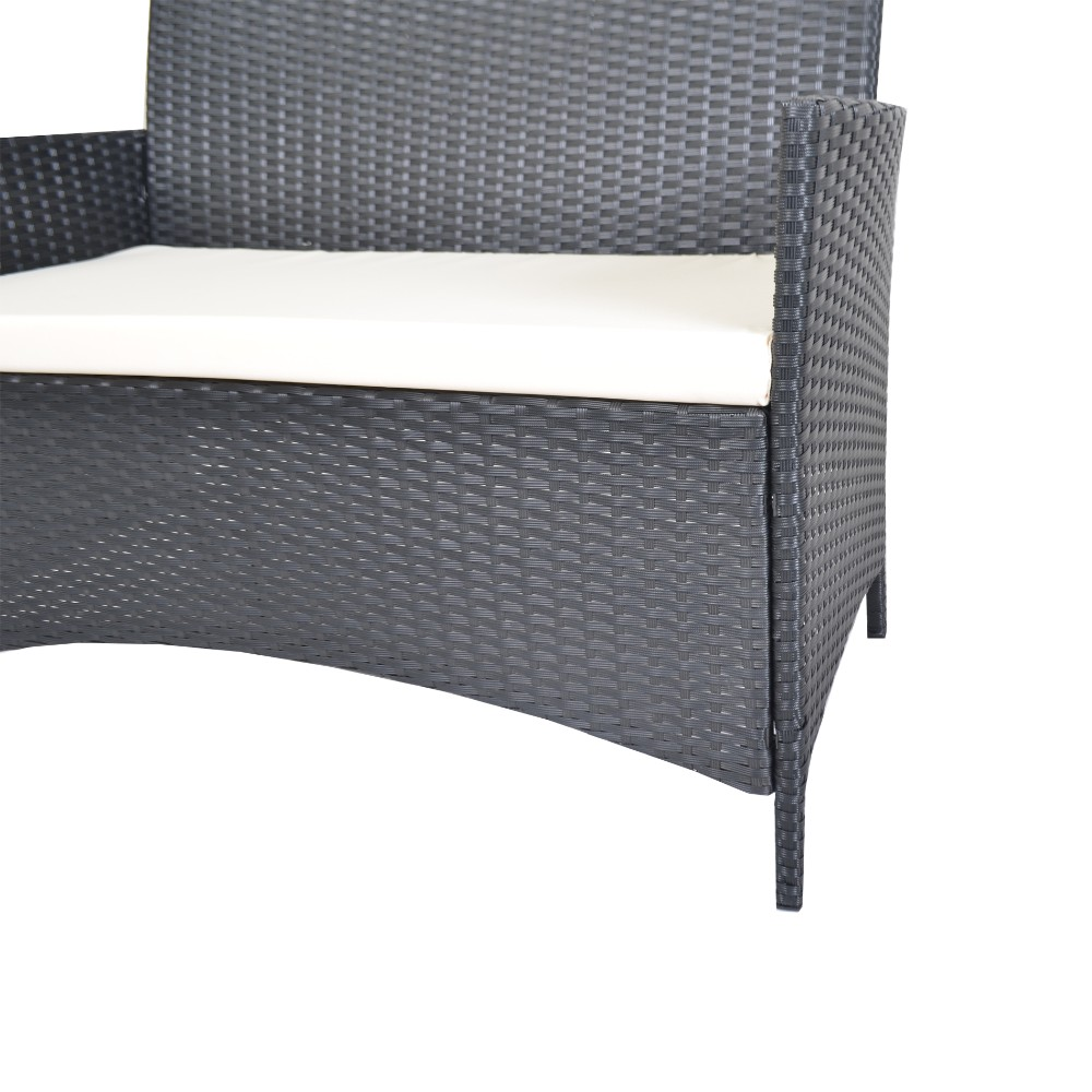 Compact 4pcs White Cushioned Outdoor Patio Furniture PE Rattan Wicker Set  Black-in Garden Sets from Furniture on Aliexpress.com | Alibaba Group - Compact 4pcs White Cushioned Outdoor Patio Furniture PE Rattan