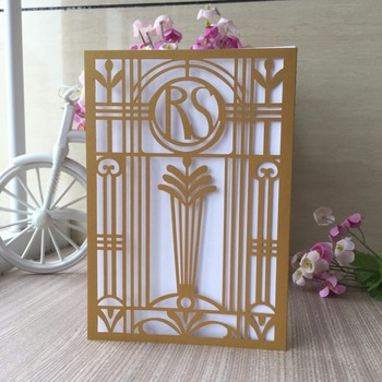 30Pcs Laser Cut Pearl paper Customized words on Wedding Invitation Card Birthday Party Greeting Invitation Card Suppliers