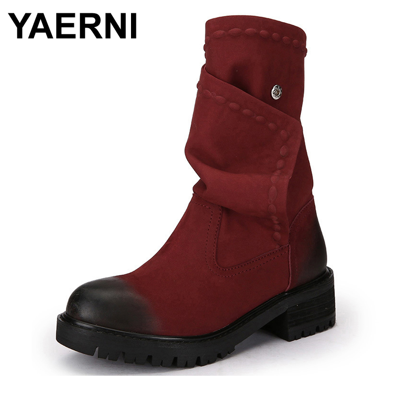 YAERNI 2017 Winter Genuine Leather Women Boots Round Toes Low Heels Handmade Color Button Mid Calf Vintage Women Boots Black Red