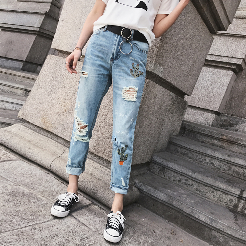 Women Embroidered Ripped Petite Jeans Mid Waist Ripped Jeans With Cactus Embroidery Casual Jeans