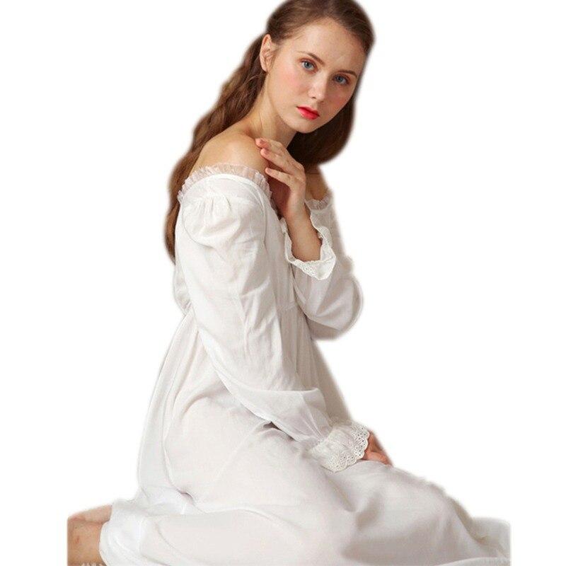 e33a3640bd Sexy Slash Lace Up Sleep Wear Night Dress Vintage Nightgown Long Sleeve  Nightdress White Cotton Sleepwear
