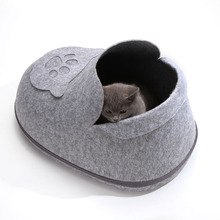 Dog Bed Cat House For Puppy Sleeping Bag Zipper Felt Cloth Warm  All Around Privacy Nest With Detachable Cushion
