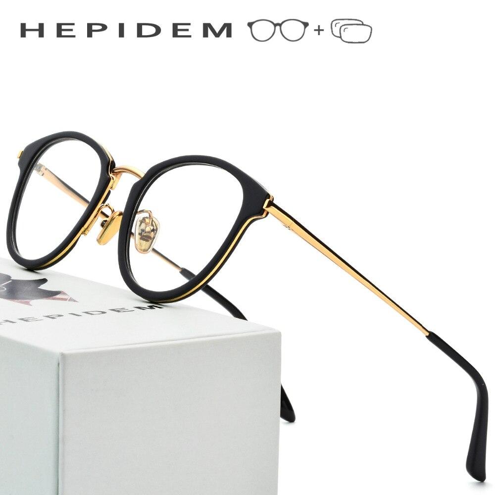 Prescrição de acetato de Óculos de Armação Homens 2018 Redonda de Metal  Óculos de Armação Óptica 1b7fc20956