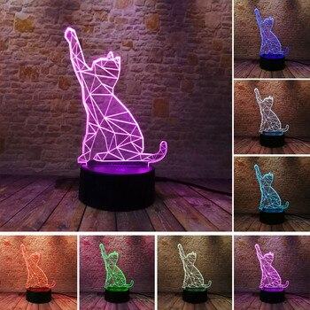 Nuevo 7 Color atenuación gradiente llamando gato luz nocturna visual LED lámpara niño dormir para niños decoración de fiesta de Navidad juguetes regalos