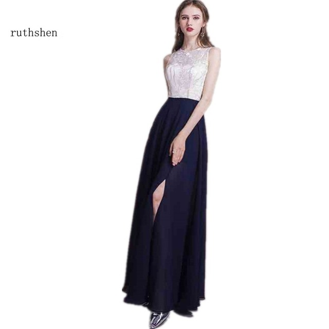 8b51c7dd8 ruthshen Sexy Evening Dresses Long 2018 New Two Tone Lace Top Navy ...