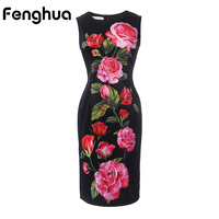 Fenghua Summer Dress Women 2017 Casual Elegant Rose Print Dress Vintange Sexy Pencil Bodycon Office Party