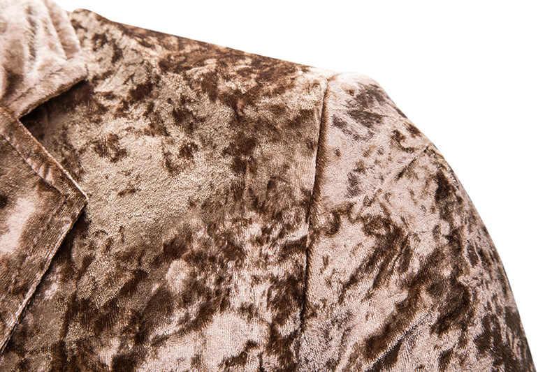 男性のベルベットベロアホワイトブレザージャケット 2019 新スリムフィットワンボタンコーデュロイスーツのジャケットの男性パーティークラブステージブレザー Masculino