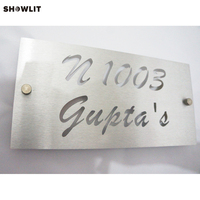 Aluminum House Number Door Sign Plaque Brushed Finish