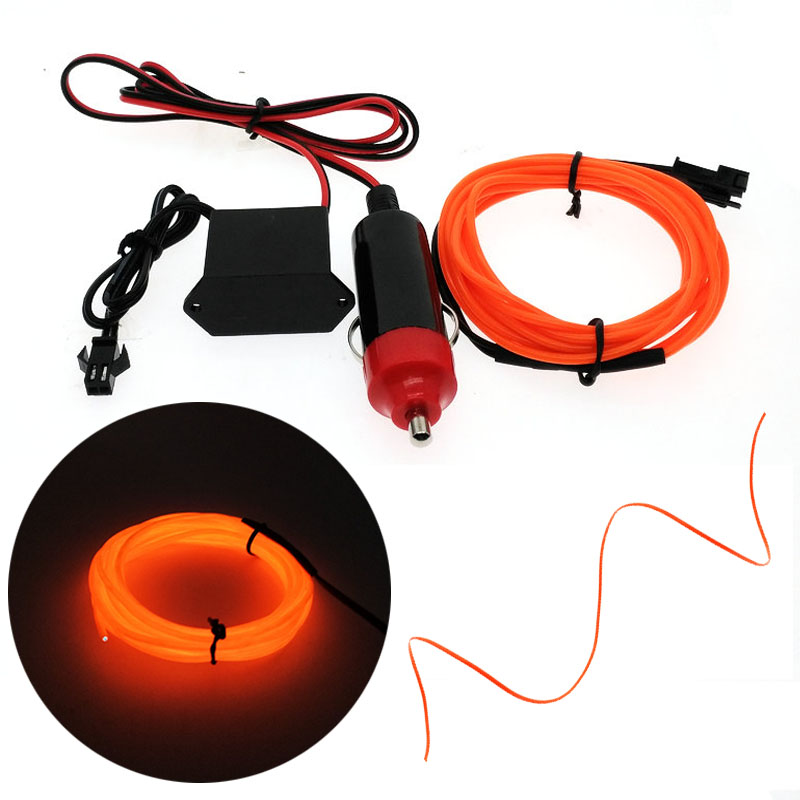 Car EL Wrie Cigarette Lighter Socket Plug Neon Light Car Decor Light Neon LED Lamp Flexible EL Wire Rope Tube LED Strip