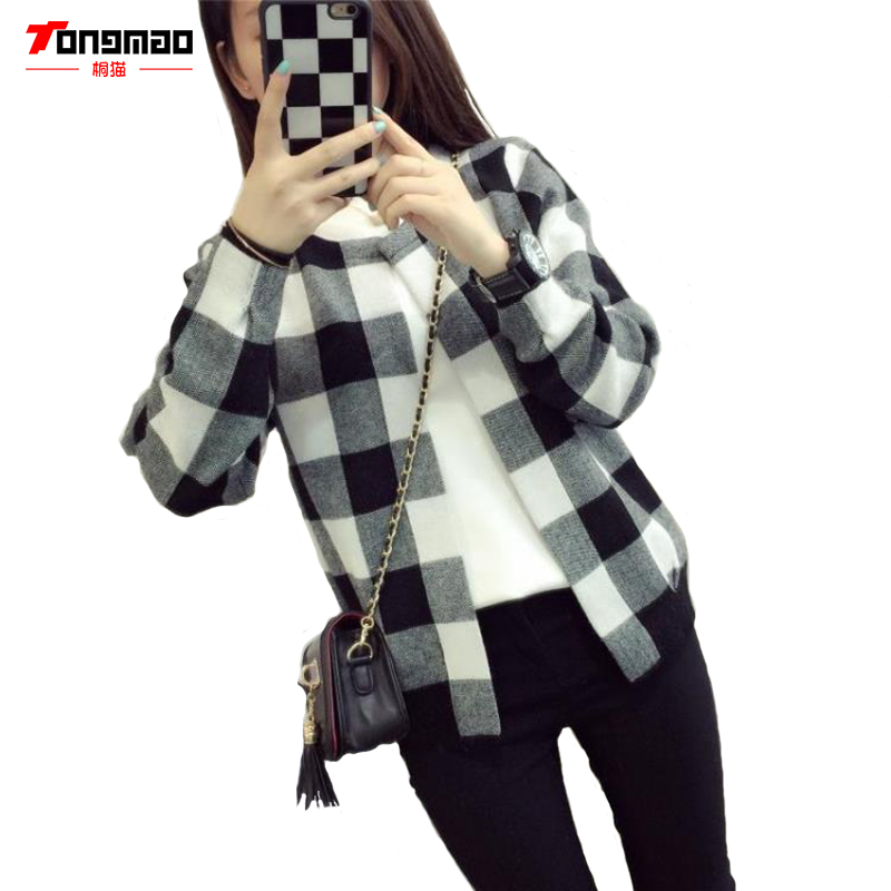 2016 Autumn New Ladies Casual Fashion Wild Loose Sweater Coat Long-sleeved Round Neck Knit Cardigan Multicolor Plaid