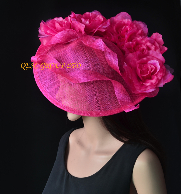New Hot Pink Fuchsia Large Sinamay Hat Saucer Fascinator Silk Flower