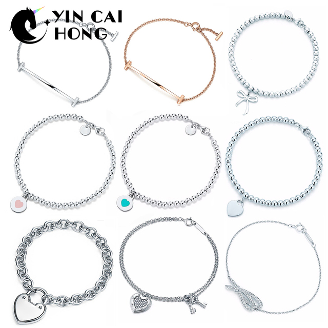 YCH Charm For Gifts 925 Sterling Silver Heart Shaped Bow Temperament Women Bracelet Silverware Matching World