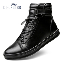 CIROHUNER Mans Footwear Boots For Men Genuine Leather Shoes Men's Winter Ankle Boots Warm Black Homme zapatos hombre Plus S