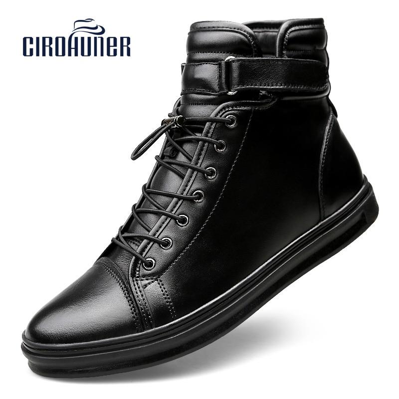 CIROHUNER Men Footwear Boots For Men's Genuine Leather Shoes Men's Winter Ankle Boots Warm Black Homme zapatos hombre Plus S
