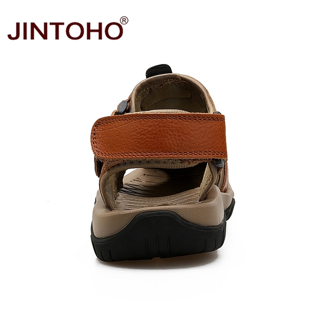 JINTOHO Summer Mens Sandals Fashion Male Leather Sandals Men Genuine Leather Sandals Summer Beach Leather Shoes