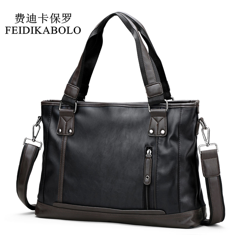 FEIDIKABOLO Famous Brand Man Bag Male Handbags Leather Briefcases Shoulder Bags Laptop Tote Men Crossbody Messenger Bags 14 In