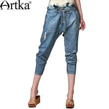 Artka 2015 женская ретро новая коллекция осеней одежды высококачественные элегантные широкие светло-синие хлопоковые джинсовые кальсоны Harem KN13143Q