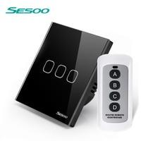 SESOO EU UK Touch Switch 110 240v 3 Gang 1 Waterproof Crystal Toughened Glass Panel LED