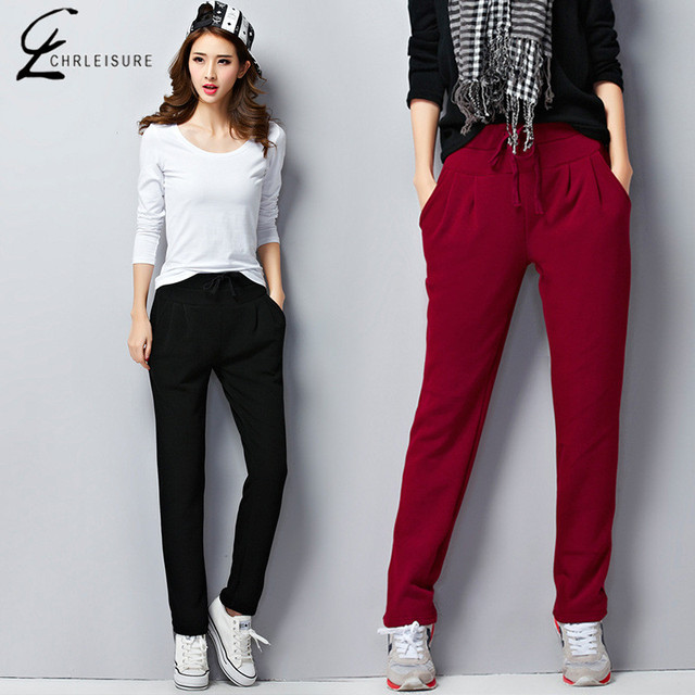 M-6XL 4 Colores Invierno de Las Mujeres Pantalones Harem Fashin Caliente Espesar Pantalón Más El Tamaño Elástico Ocasional Pantalones Femeninos de Las Mujeres Femeninas pantalones