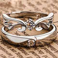 1 Pair Vintage Turkish Silver Plated Crystal Angel Wing Opening Couple Rings For Lovers Engagement Wedding Adjustable Jewelry