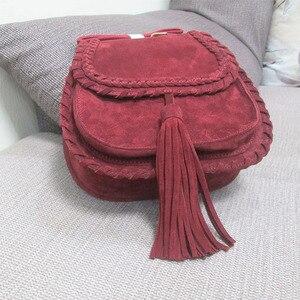 Image 5 - Natural Suede Leather Saddle Bag Women Genuine Leather Casual Messenger Bag Female Leisure Natural Leather Fringe Shoulder Bag