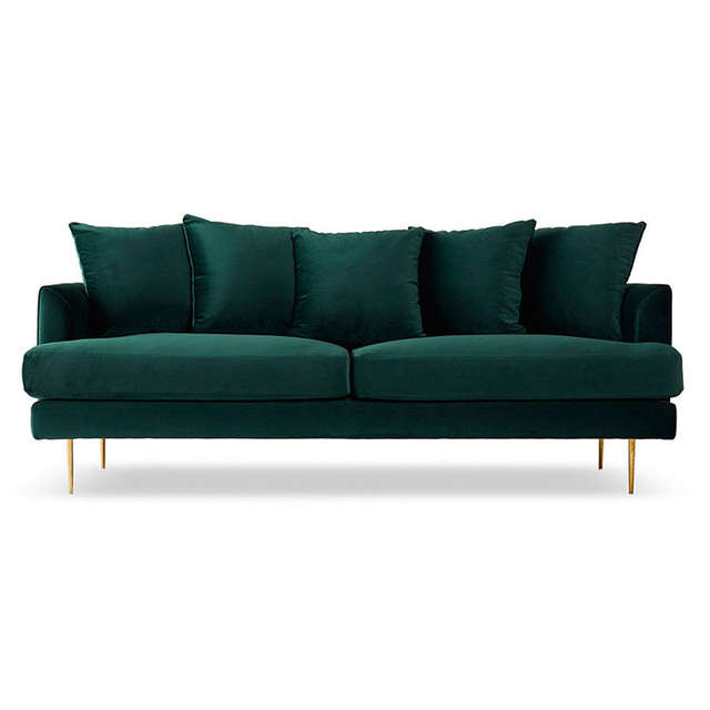 US $237.8 18% OFF|Light luxury furniture Nordic fabric sofa dark green  small apartment three person living room minimalist velvet sofa-in Living  Room ...