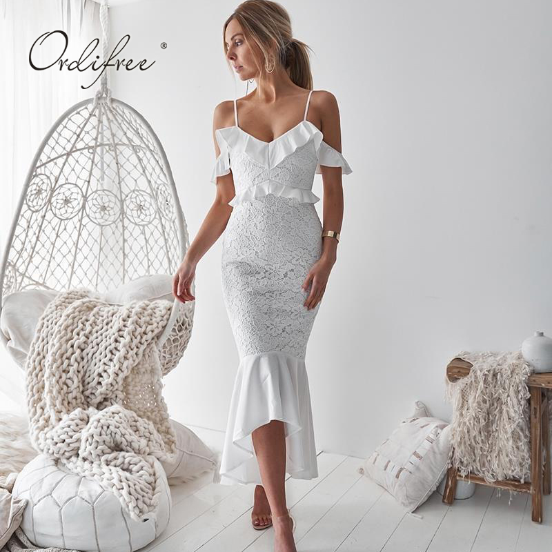 Ordifree 2019 Summer Women White Lace Party Dress Spaghetti Strap Wine Red  Maxi Dress Ruffle Sexy 85b7fa45855d