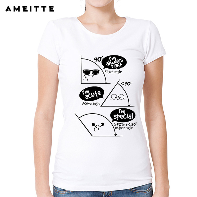32dce4c8 2018 AMEITTE Funny Geometric Design Math T Shirt Women's/Ladies Cartoon  Science Printed T-Shirt Summer Casual Female Tee Tops