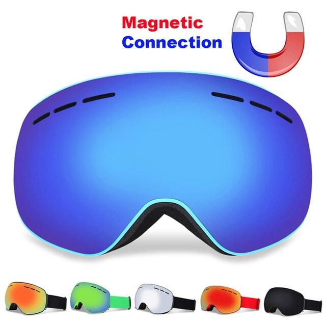Professional Magnetic Ski Goggles Double Layers UV400 Anti-fog Adult Snowboard Skiing Glasses Women Men Snow Ski Mask Eyewear