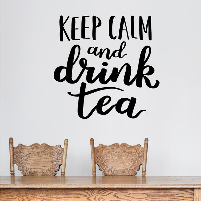Keep calm and drink tea wall stickers quotes wall decal for living room bedroom home decoration