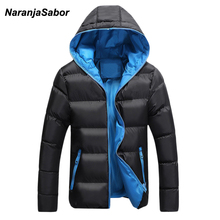 NaranjaSabor Men's Coats 2017 Winter Parkas Mens Casual Jackets Male Overcoat Mens Brand Clothing Warm Thick Hooded Padded 5XL