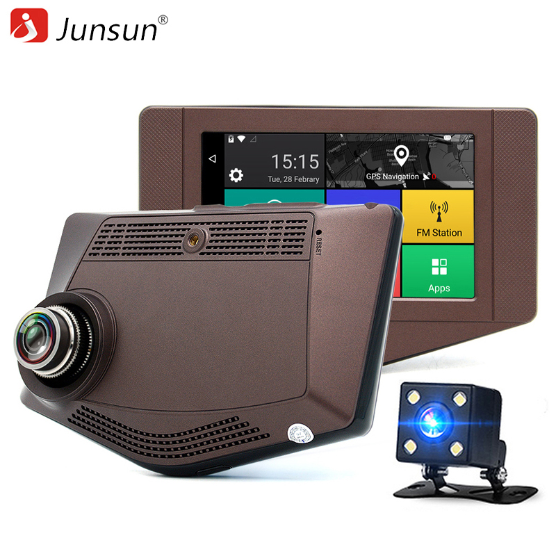 imágenes para Junsun Nueva 3G 4.2 pulgadas de Coches de Navegación GPS Android 5.0 Bluetooth FHD 1080 P Coche DVR Cámara de Vídeo Grabadora de Doble lente gps navigator