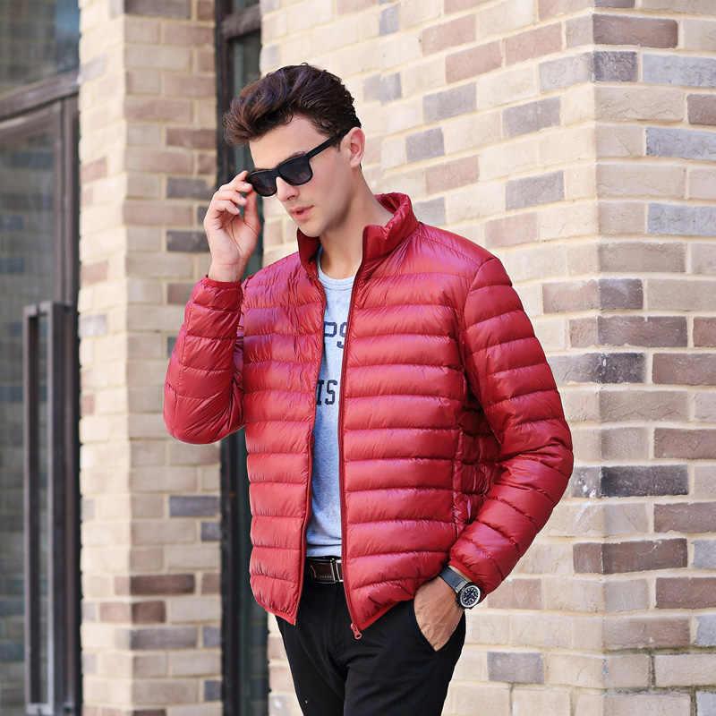8254a0fe10b ... AIRGRACIAS 2018 Высокое качество Мужская теплая куртка легкая тонкая  90% белая куртка-пуховик Мужская ...