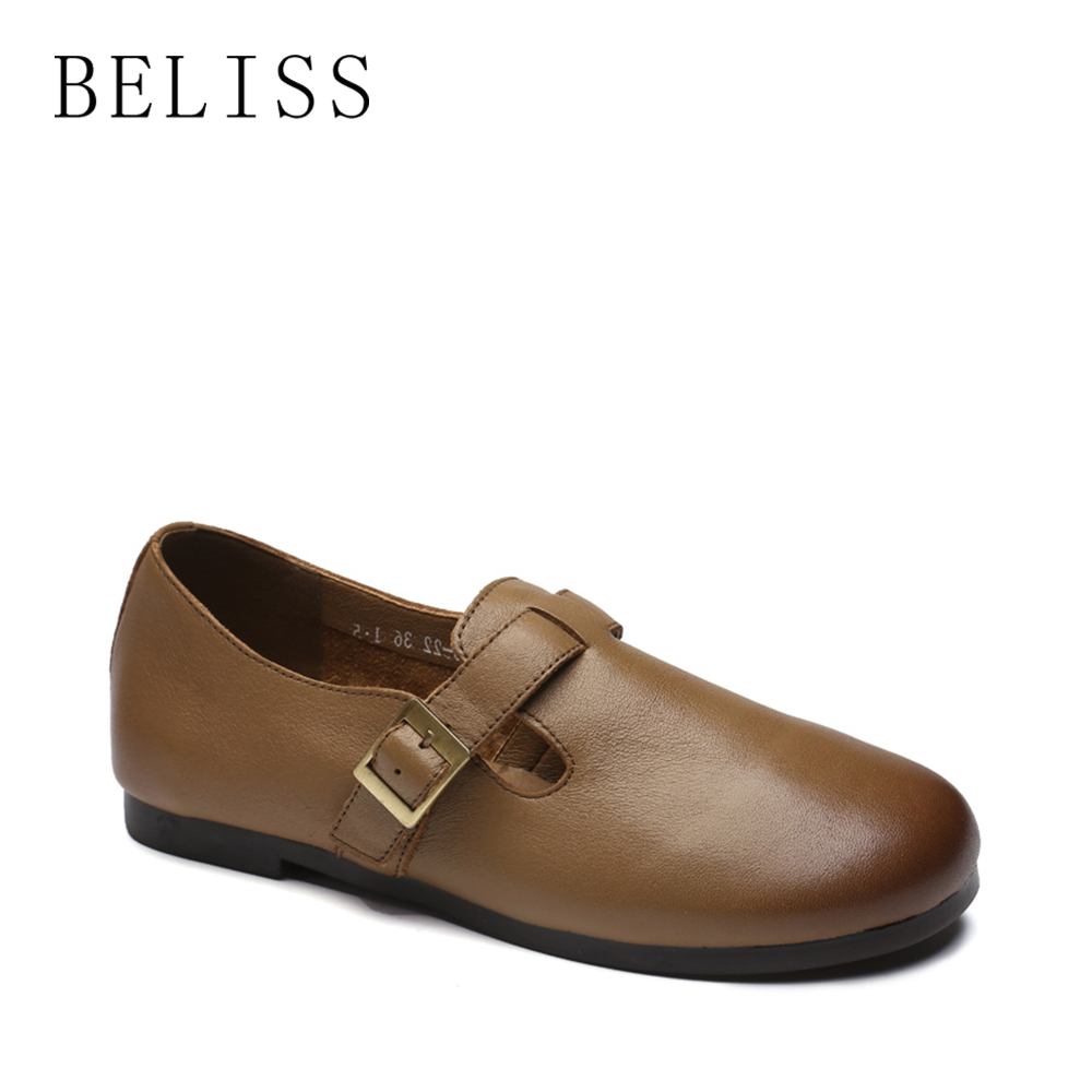 BELISS 2018 new fashion casual flats shoes buckle strap top quality women shoes genuine leather flats shoes ladies round toe P8