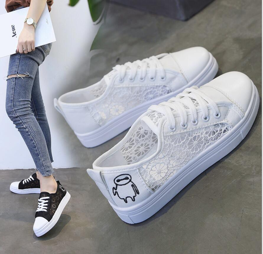 2019 Fashion Breathable Women Canvas Shoes Summer Autumn Lace Lady Casual Shoes Ladies Flat Vulcanize Shoes Female Sneakers