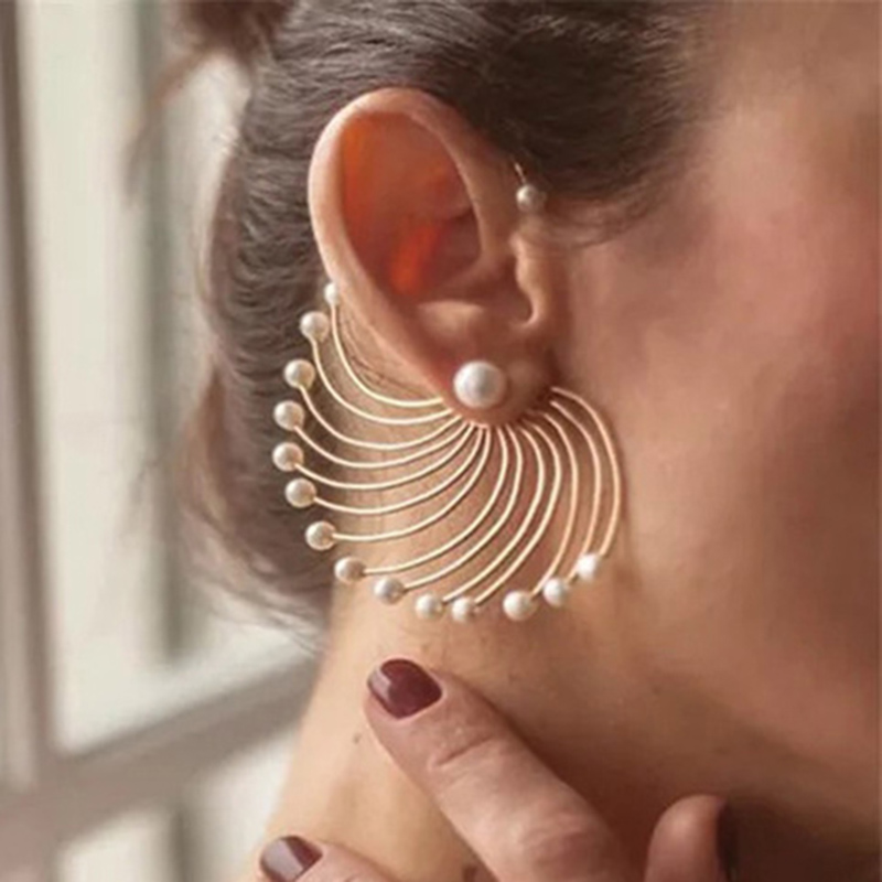 1pcs Vintage Peacock Opening Shaped Party Earrings for Women Chic Pearls Big Gold Statement Earring Jewellery Gift for Female