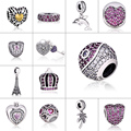 925 Sterling Silver Fashion Jewelry Mix Zircon Beads For Love and Friendship DIY Charm Fit For Pandora Bracelets and Necklace
