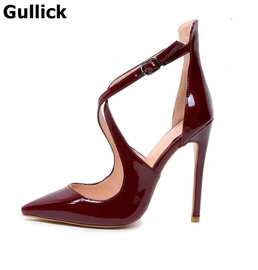 Gullick Sexy Women Wine Red Black Patent Leather Pointed Toe Pumps Summer Fashion Crossed Buckle Strap High Thin Heel Shoes коляска esspero summer line wine red sl010a 108068266