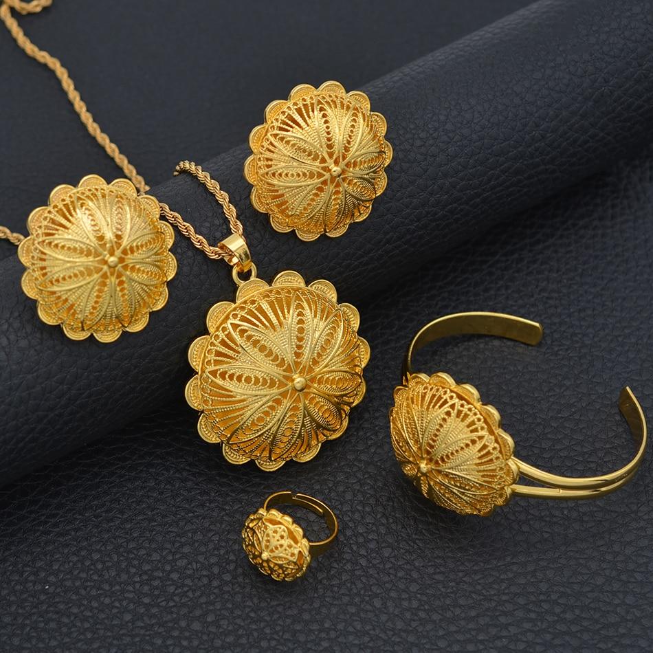 Anniyo Bangles Earrings Pendant Jewelry-Sets Necklaces Ethiopian Bride-Gifts Eritrean