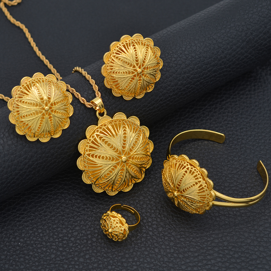 Anniyo Ethiopian Jewelry sets Pendant Necklaces Earrings Ring Bangles for Womens Gold Color Eritrean African Bride Gifts #207506