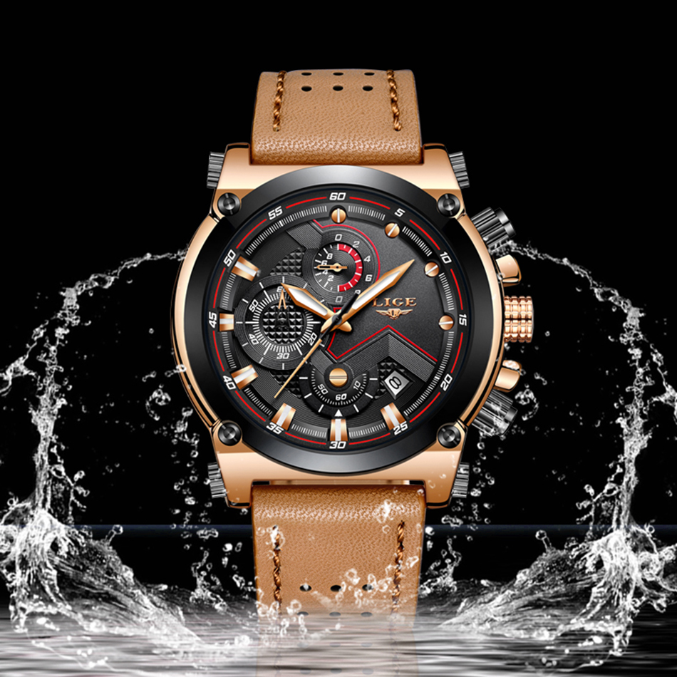 Reloje 2018 LIGE Men Watch Male Leather Automatic date Quartz Watches Mens Luxury Brand Waterproof Sport Clock Relogio Masculino 5