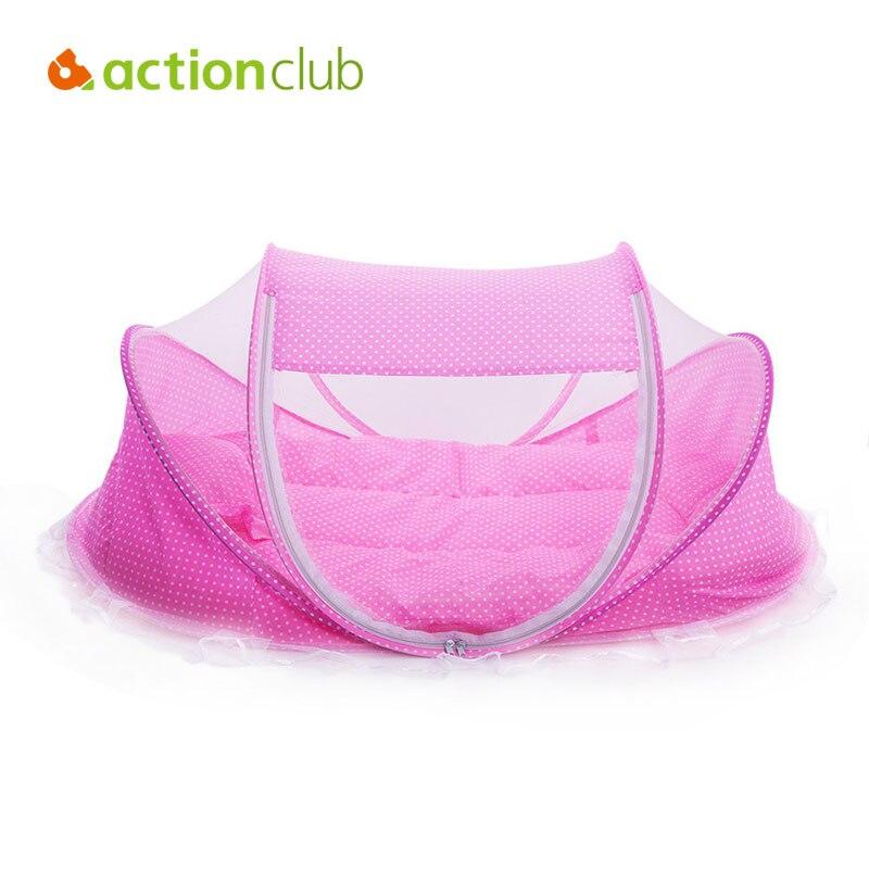Actionclub Baby Crib Travel Bed Cotton Pillow Pad Folding Baby Crib Portable Crib With Netting Newborn