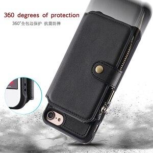Image 5 - Caso do telefone da carteira do zíper para o iphone 11 pro max x xr 6s 8 7 mais caso de couro da aleta para o iphone xs max se 2020 silicone macio