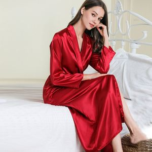 Image 3 - New Silk Kimono Robe Women Bathrobe Womens Wedding Bridesmaid Robes Sexy Long Robes Satin Robe Ladies Dressing Gowns