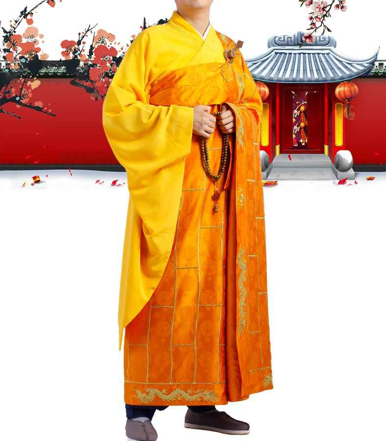 Trajes de dragón bordado de calidad superior traje de cama budista shaolin monks kung fu cassocks zen batas Ropa naranja/café/ marrón
