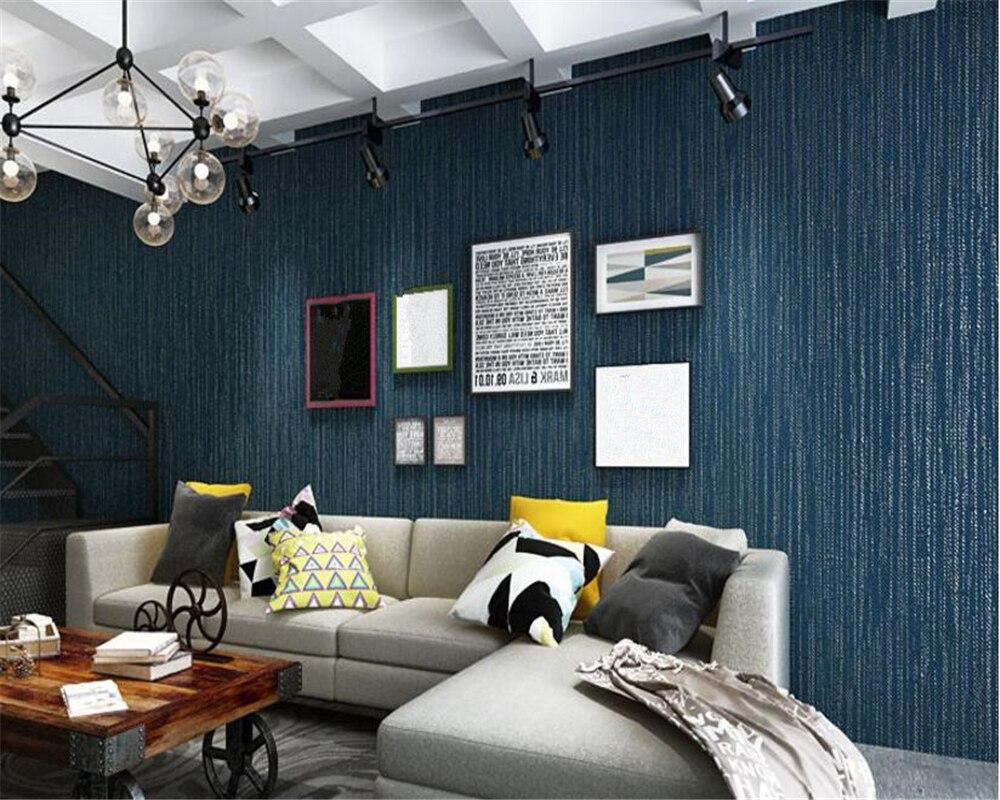 Beibehang Moderno Simples Papel De Parede N O Tecido Liso Azul  -> Parede Da Sala Listrada Azul Marinho