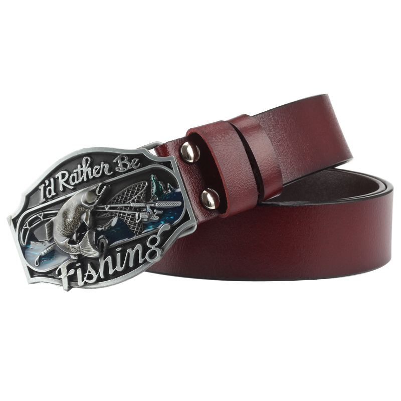 Fishing   belt   buckle men leisure Genuine   belt