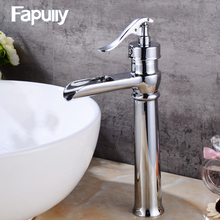 Fapully high quality brass chrome bathroom tall basin faucets